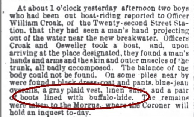 Chicago Daily Tribune Apr 26 1878 Man found dead with Buffalo Boots