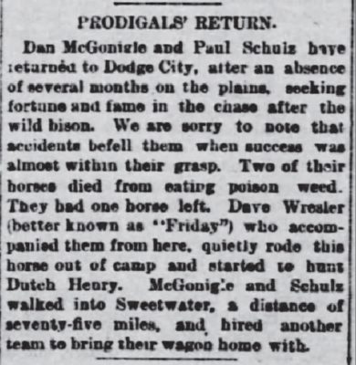 Dodge City KS Apr 13 1878 Prodigals Return