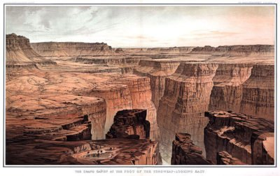 """""""Foot of Toroweap Looking East"""" by William H. Holmes (1882). Artwork such as this was used to popularize the Grand Canyon area."""
