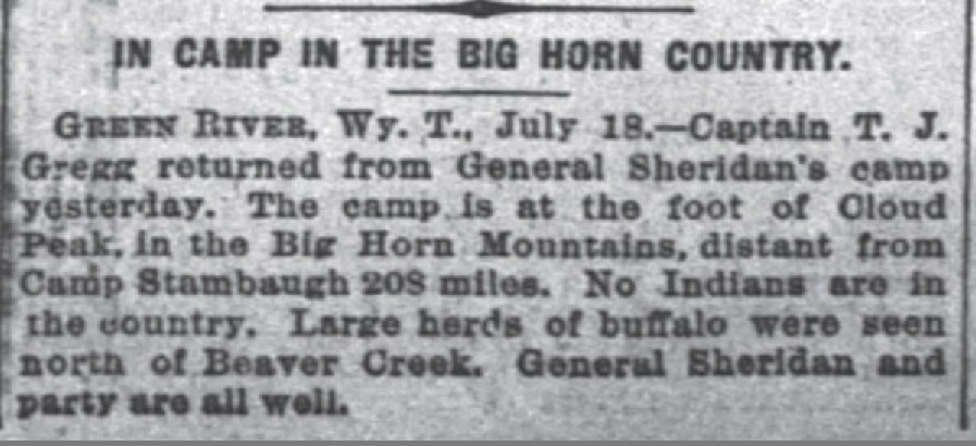 In Camp In the Big Horn Country The Inter Ocean Jul 18 1877
