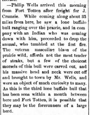 Jamestown Weekly Alert ND Aug 15 1878 Wells Arrives