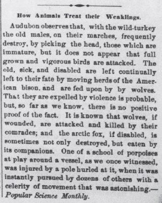 Kansas Farmer Topeka Mar 11 1874 How Animals Treat Their Weaklings