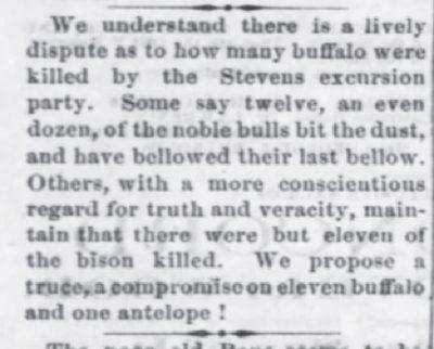 Lawrence Daily Journal Dispute ver number of bison Nov 4 1869