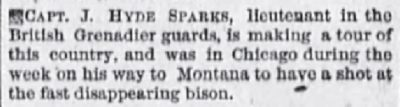National Republican Wa DC Aug 16 1884 Lt to hunt bison in MT