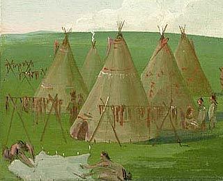 Sioux Encamped on the Upper Missouri dressing buffalo meat n robes by george catlin