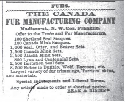 1876 bison history- The Chicago Daily Canada Fur Trade Ad Oct 2