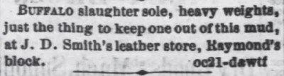 The Daily KS Tribune Oct 29 1870 Buffalo Slaughter Sole ad