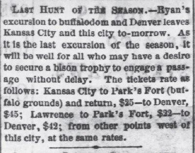 The Daily Kansas Tribune Last Hunt of Season Oct 18 1870