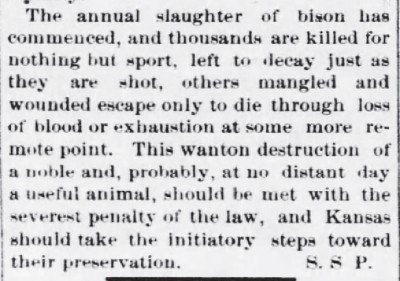 The Junction City Weekly JC KS Slaughtering Bison July 6 1872