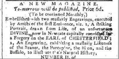 "The Public Advertiser, ""New mag. Feb 28 177"