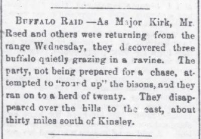 The Valley Republican Kinsley KS May 11 1878 Buffalo Raid