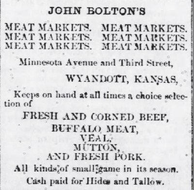The Wyandott Herald Kansas City KS Feb15 1872 meat for sale ad