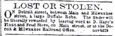 1861-1866 The Daily Milwaukee News-Nov 7 1863 Robe Lost or Stolen