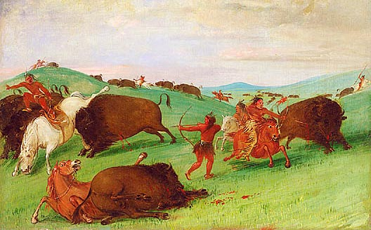 Buffalo Chase, Bulls Making Battle with Men and Horses (1832-1833) by George Catlin