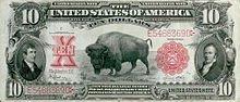 Black Diamond on the 1901 United States ten-dollar bill, drawn by Charles R. Knight