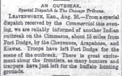 Chicago Daily Tribune Aug 27 1875 An OutBreak