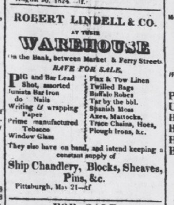 The Pittsburgh Advertiser Oct 29 1824 robes ads