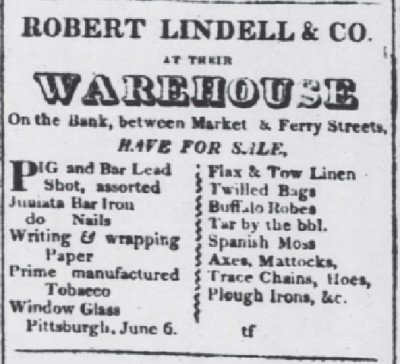 The Pittsburgh Advertiser Sept 5 1823 robes for sale