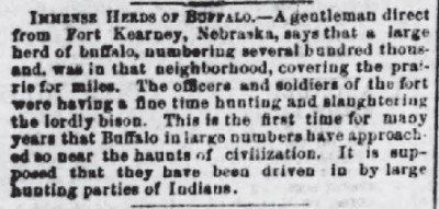 Immense herd of bison spotted in Virginia 1858