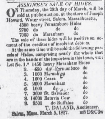 The Evening Post NY March 13 1827 9500 Hides
