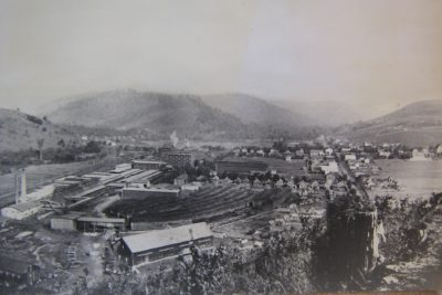 The Wilcox Tannery in 1897. Note the very large rows of hemlock bark in the lower center of the picture.