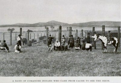 A band of Commanche Indians who came from Cache to see the bison