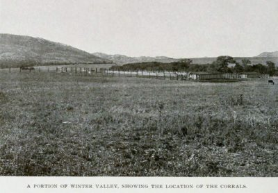 A protion of winter valley showing the location of the corrals