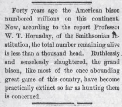 1889 Bison History