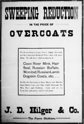 Pierre Weekly Free Press Dec 17 1903 Buffalo Overcoat