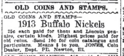 Old Coins Wanted Buffalo Nickel 1915