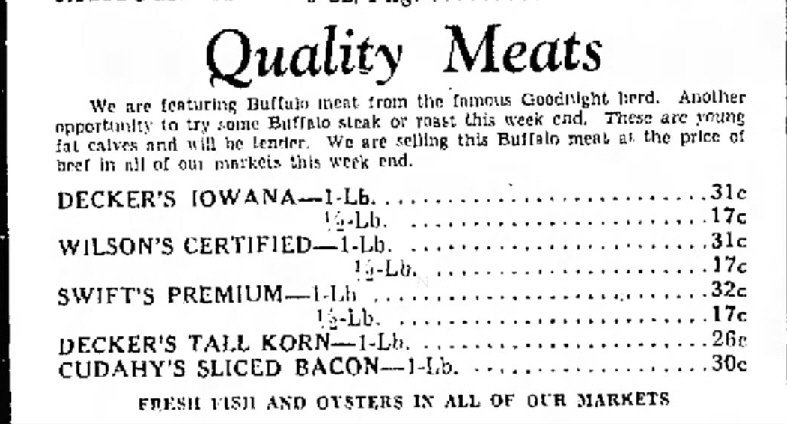 The Amarillo Globe Jan 22 1937 ad for Goodnight Buffalo Meat Furr Food PigglyWiggly
