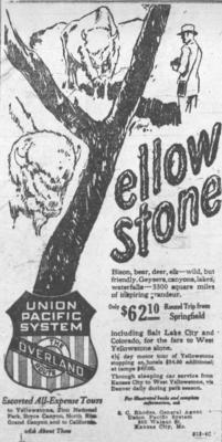 1926-1930 Yellowstone National Park Ad July 7 1926