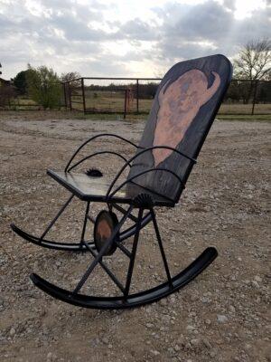 Bison Wagon Wheel Rocker left
