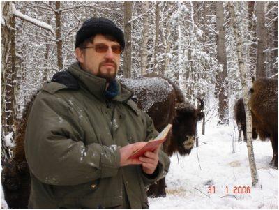 Dr. Taras Sipko with bison