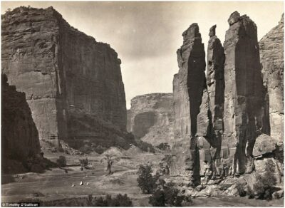 Canyon de Chelly National Monument, Arizona. Photographed in 1873 and situated in northeastern Arizona