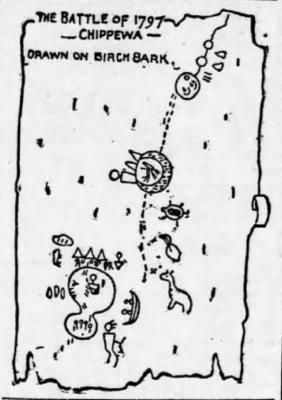 Chippewa 1797 Battle drawn on birch bark